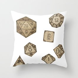 Wooden Dice Throw Pillow