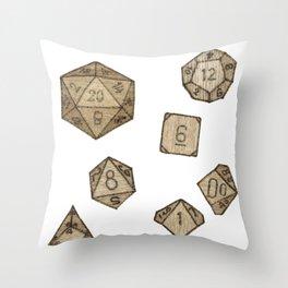 Wooden Dice Throw Pillow