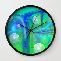 bubbles Wall Clocks featuring Bubbles by Roger Wedegis