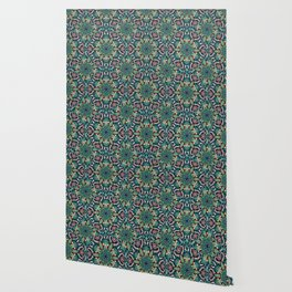 Colorful abstract ethnic floral mandala pattern design Wallpaper