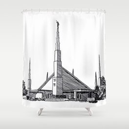 Dallas Texas LDS Temple Ink Drawing Shower Curtain