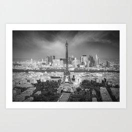Paris Skyline | Monochrome Panorama Art Print