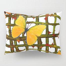 GOLDEN BUTTERFLIES THORN BRANCHES TRELLIS  PATTERN Pillow Sham