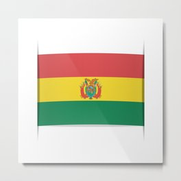 Flag of Bolivia. The slit in the paper with shadows.  Metal Print