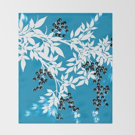 TREE BRANCHES BLUE AND WHITE WITH BLACK BERRIES TOILE Throw Blanket