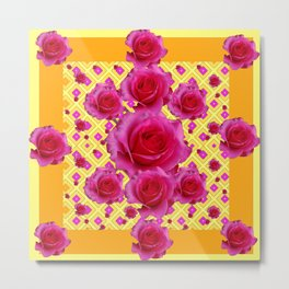 Golden Yellow Fuchsia Roses Abstract Metal Print