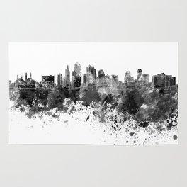 Kansas City skyline in black watercolor Rug
