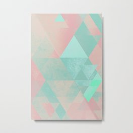 Pink and Mint Geometric Composition  Metal Print