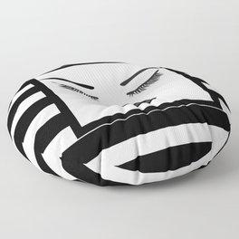 Black Lips Beauty Face Stripes Floor Pillow
