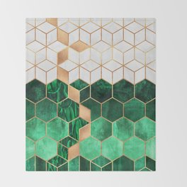 Emerald Cubes And Hexagons Throw Blanket