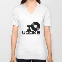vodka V-neck T-shirts featuring LOVE VODKA by Giovanni Potenza
