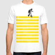 Slide on stripes White Mens Fitted Tee SMALL