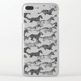 Running Watercolor Horses Ink Black Clear iPhone Case