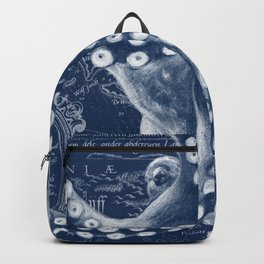Octopus Vintage Map Blue Nautical Art Backpack