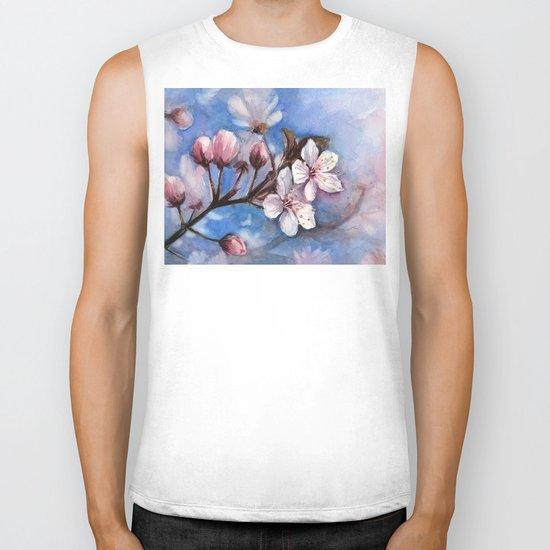Cherry Blossoms Watercolor Spring Flowers Biker Tank