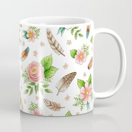 Feathers and Flowers - hand drawn watercolour pattern Coffee Mug