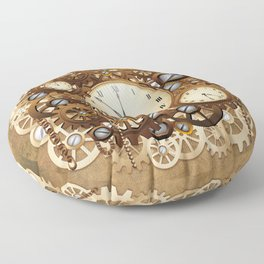 Steampunk Vintage Style Clocks and Gears Floor Pillow