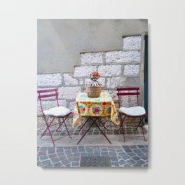 Cafe Table in Cassis Metal Print