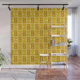 Mid Century Abstract Pattern Yellow Ochre Wall Mural