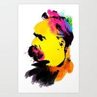 nietzsche Art Prints featuring Friedrich Wilhelm Nietzsche by DIVIDUS