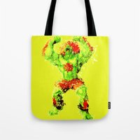 street fighter Tote Bags featuring Street Fighter II - Blanka by Carlo Spaziani