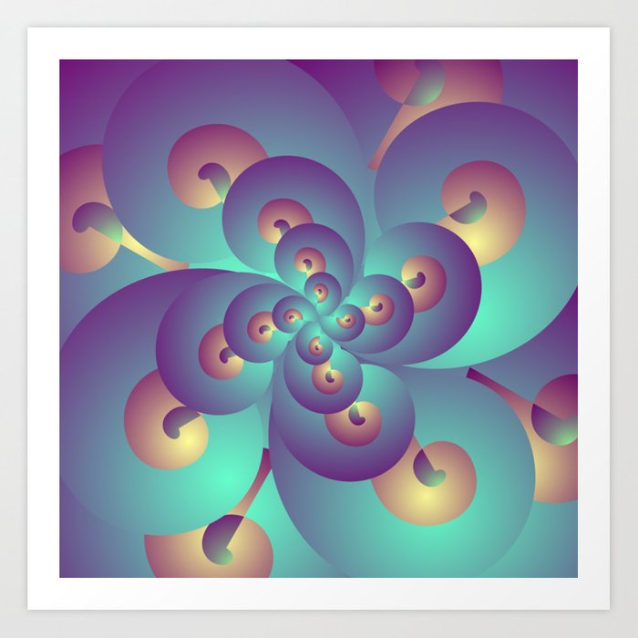 Acid Psychedelic Trance, Blue and Gold Fractal Art Print by shamanshore