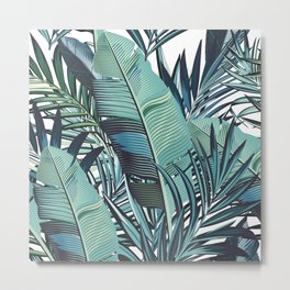 Hawaii Prints, Teal, Blue, Banana Leaves, Palm Tree Art Metal Print