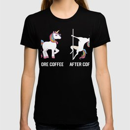 Funny Unicorn Before Coffee After Coffee T-shirts Gift T-shirt
