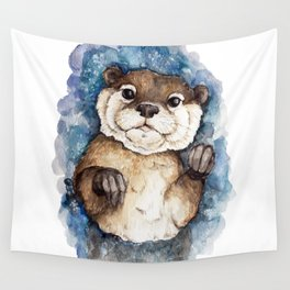 Watercolor Otter Wall Tapestry