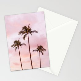 Palm Tree Photography | Landscape | Sunset Unicorn Clouds | Blush Millennial Pink Stationery Cards