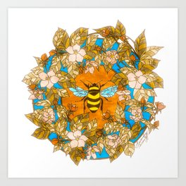 Bumblebee In Wild Rose Wreath Art Print