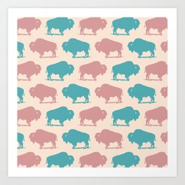 Buffalo Bison Pattern Dusty Rose and Turquoise Art Print