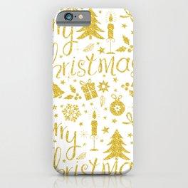 Golden Christmas decoration iPhone Case