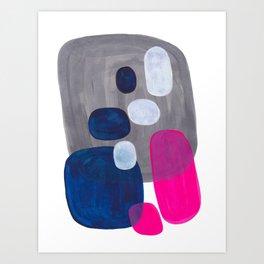 Mid Century Modern Minimalist Colorful Pop Art Grey Navy Blue Neon Pink Color Blobs Ovals Art Print