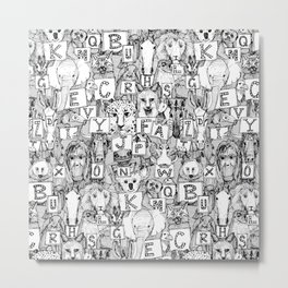 animal ABC black white Metal Print
