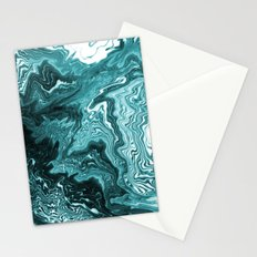 Yumiko - spilled ink painting abstract minimal ocean wave water sea monochromatic trendy hipster art Stationery Cards