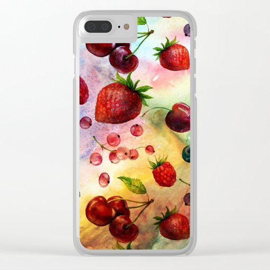 Summer fruits- Fresh strawberry berry pastel pattern Clear iPhone Case