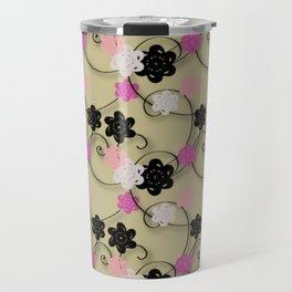 Pink White Black Flower Pattern Travel Mug
