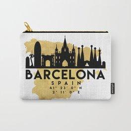 BARCELONA SPAIN SILHOUETTE SKYLINE MAP ART Carry-All Pouch