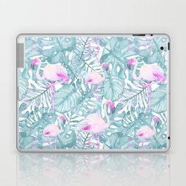 Neon pink green watercolor flamingo tropical leaves Laptop & iPad Skin