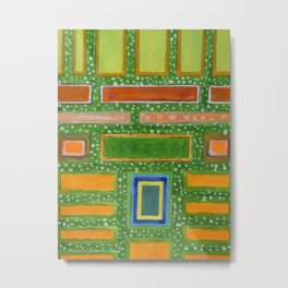 Filled Rectangles on Green Dotted Wall Metal Print
