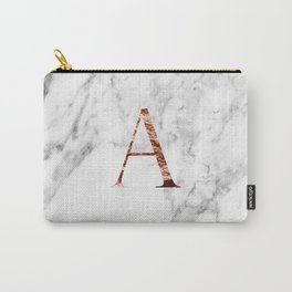Monogram rose gold marble A Carry-All Pouch