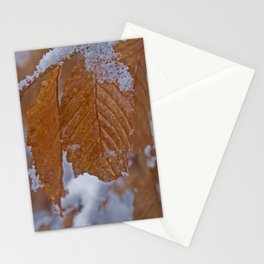 snow and leaves Stationery Cards