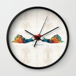 Snail Art - Love Grows Here - By Sharon Cummings Wall Clock