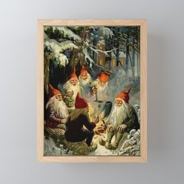 """""""Campfire Cooking"""" Tomten by Jenny Nystrom Framed Mini Art Print"""