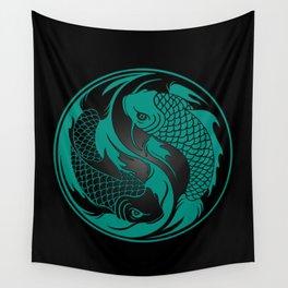 Teal Blue and Black Yin Yang Koi Fish Wall Tapestry