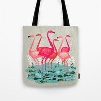 yetiland Tote Bags featuring Flamingos by Andrea Lauren  by Andrea Lauren Design