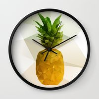 pineapple Wall Clocks featuring Pineapple by Three of the Possessed