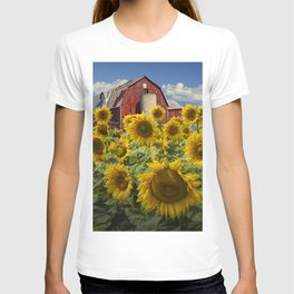Golden Blooming Sunflowers with Red Barn T-shirt
