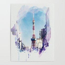 Tokyo Tower Seen from Gaien-Higashi-Dori - Watercolor Poster